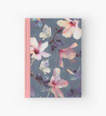 Cuaderno de tapa dura Mariposas y flores de hibisco - un patrón pintado