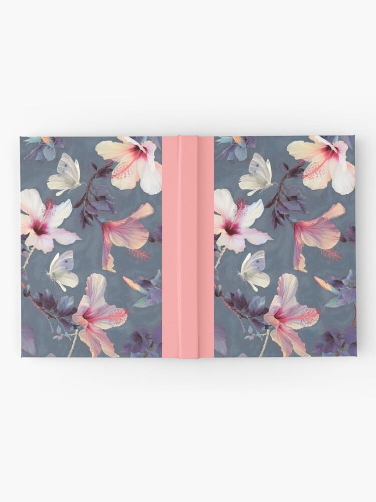 Alternate view of Butterflies and Hibiscus Flowers - a painted pattern Hardcover Journal