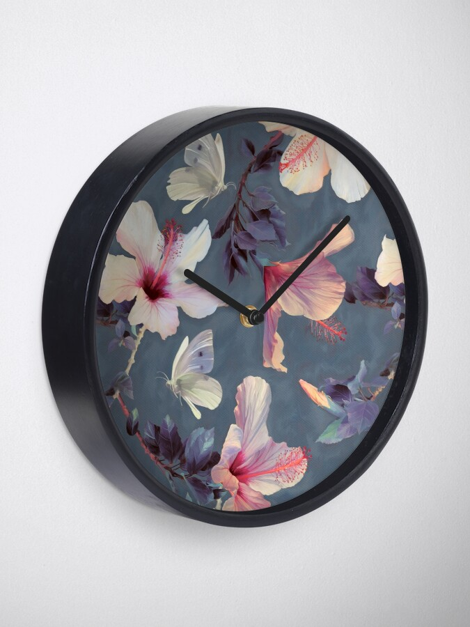 Alternate view of Butterflies and Hibiscus Flowers - a painted pattern Clock
