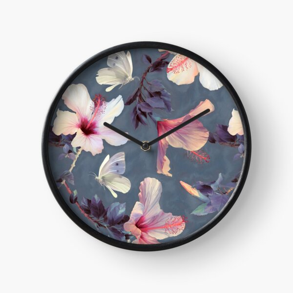 Butterflies and Hibiscus Flowers - a painted pattern Clock