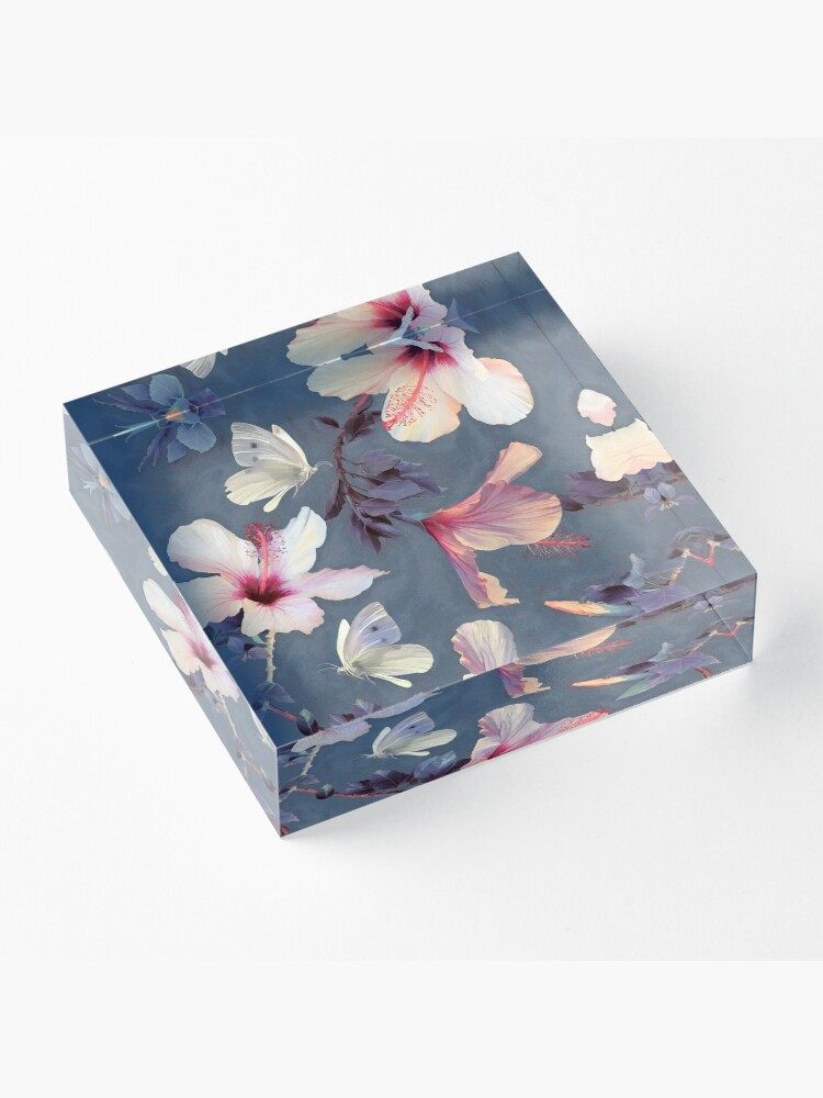 Alternate view of Butterflies and Hibiscus Flowers - a painted pattern Acrylic Block
