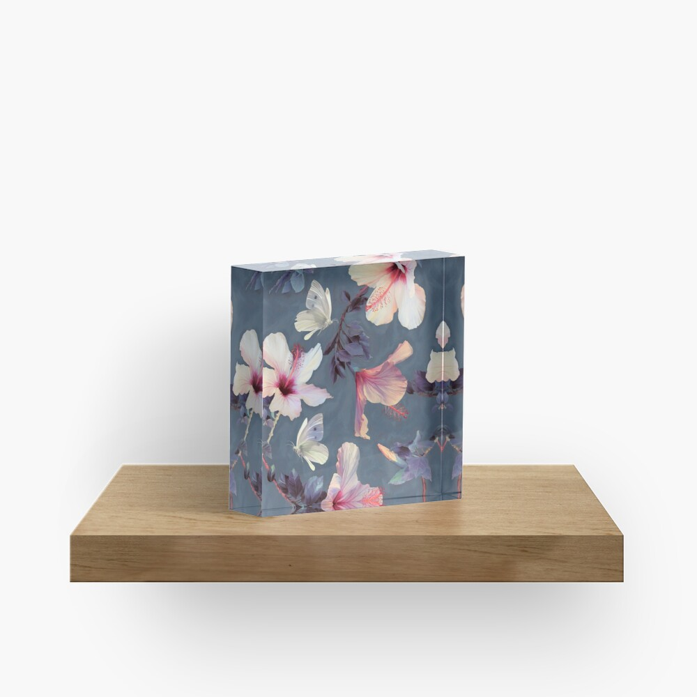 Butterflies and Hibiscus Flowers - a painted pattern Acrylic Block
