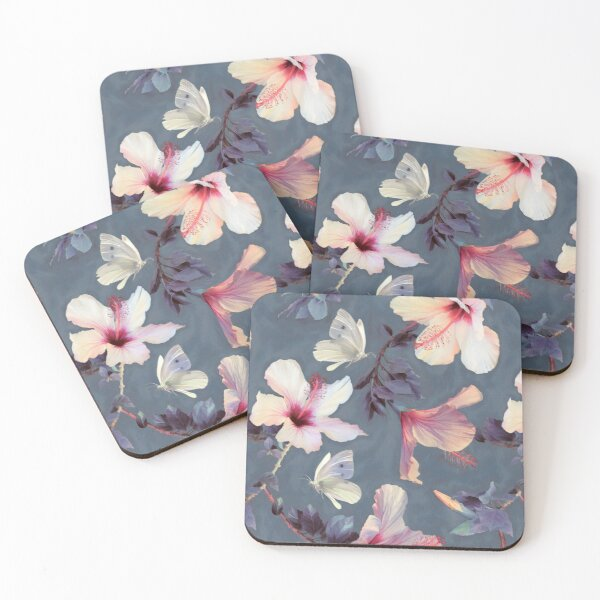 Butterflies and Hibiscus Flowers - a painted pattern Coasters (Set of 4)
