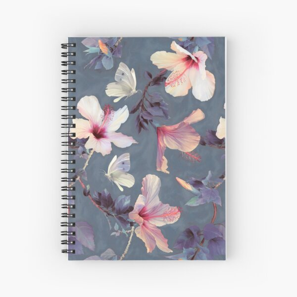 Butterflies and Hibiscus Flowers - a painted pattern Spiral Notebook