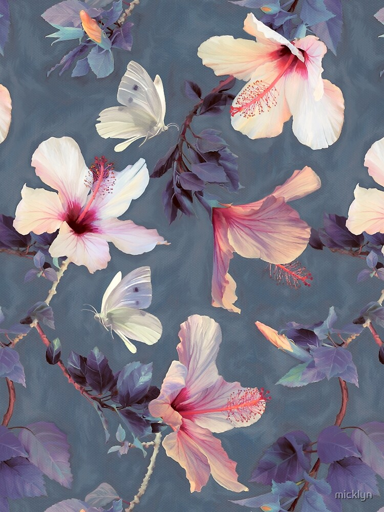 Butterflies and Hibiscus Flowers - a painted pattern by micklyn