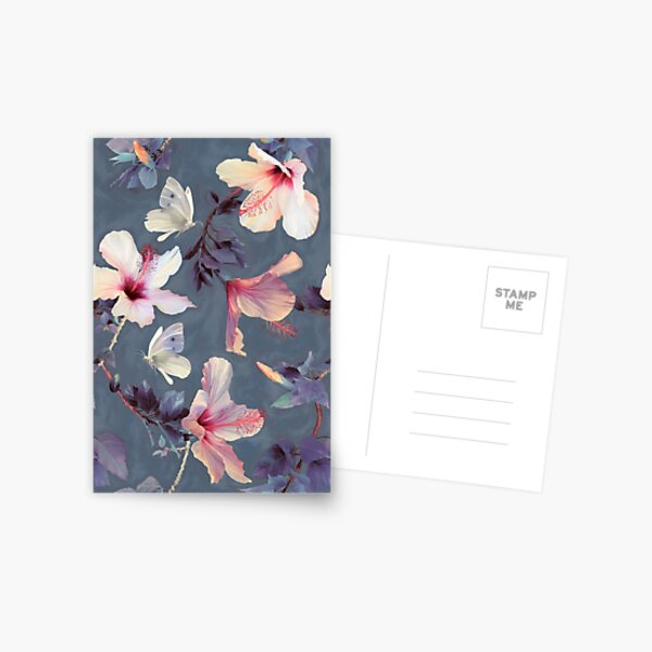 Butterflies and Hibiscus Flowers - a painted pattern Postcard