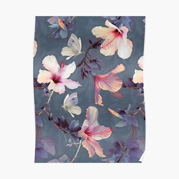 Butterflies and Hibiscus Flowers - a painted pattern Poster