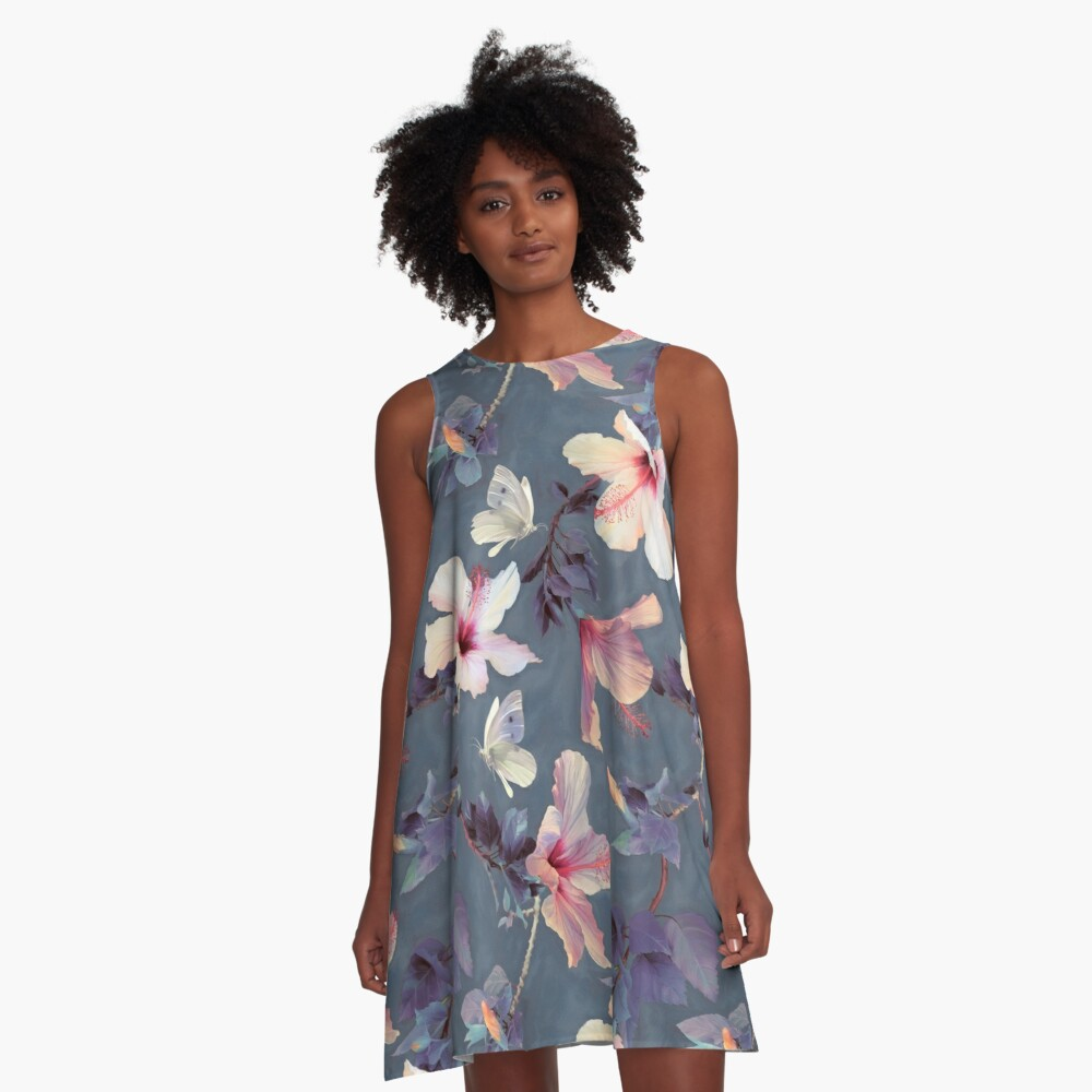 Butterflies and Hibiscus Flowers - a painted pattern A-Line Dress