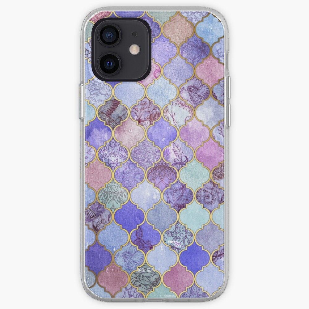 Royal Purple, Mauve & Indigo Decorative Moroccan Tile Pattern iPhone Case & Cover