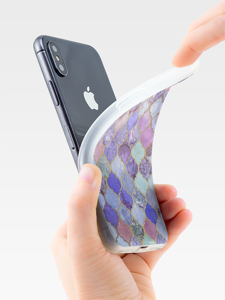 Alternate view of Royal Purple, Mauve & Indigo Decorative Moroccan Tile Pattern iPhone Case & Cover