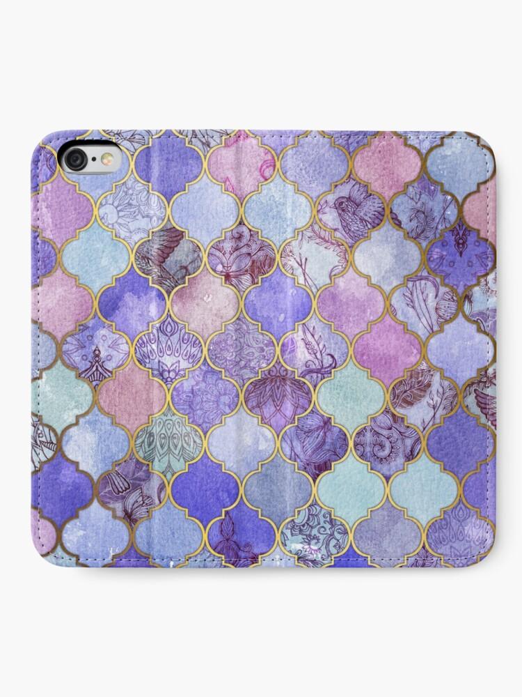 Alternate view of Royal Purple, Mauve & Indigo Decorative Moroccan Tile Pattern iPhone Wallet