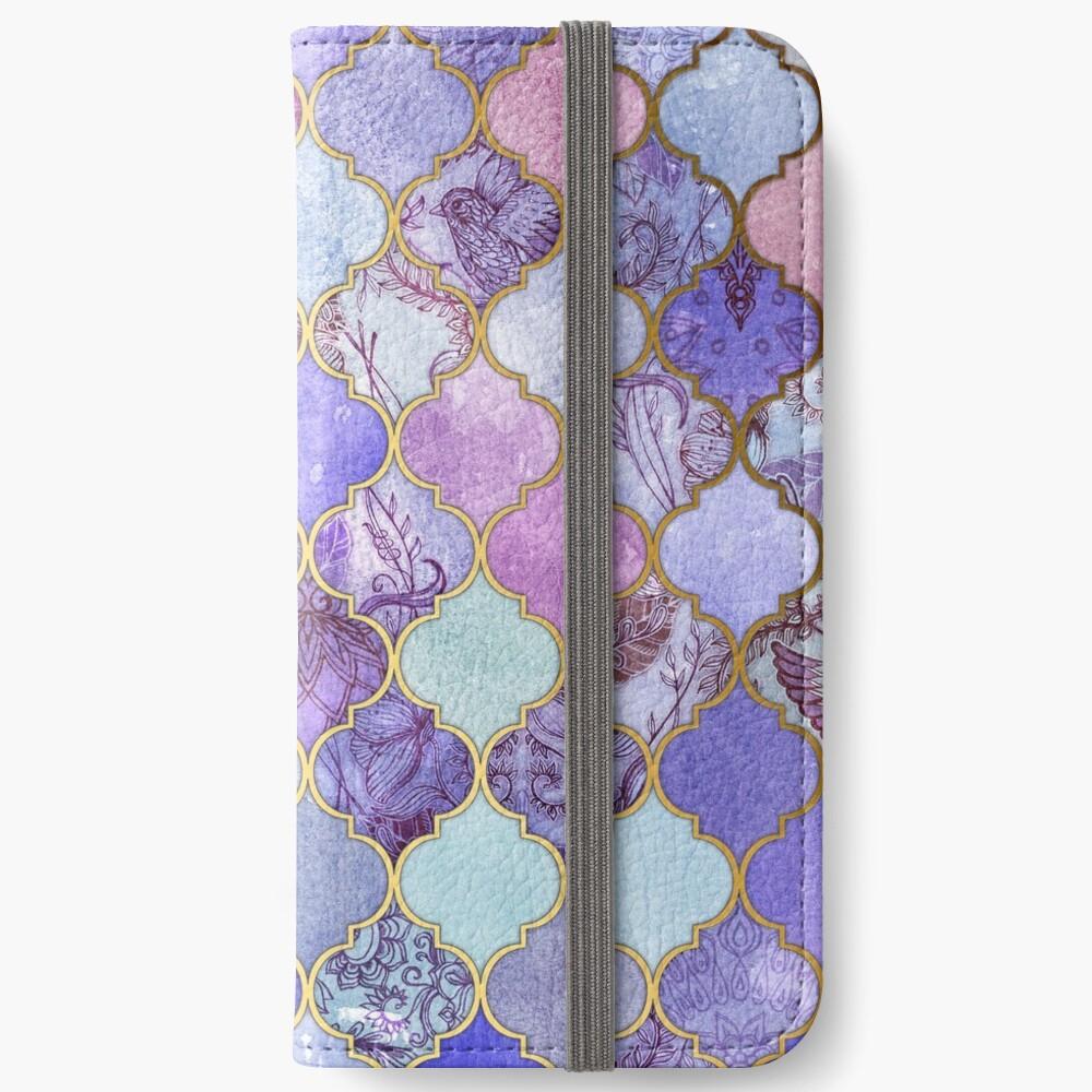 Royal Purple, Mauve & Indigo Decorative Moroccan Tile Pattern iPhone Wallet