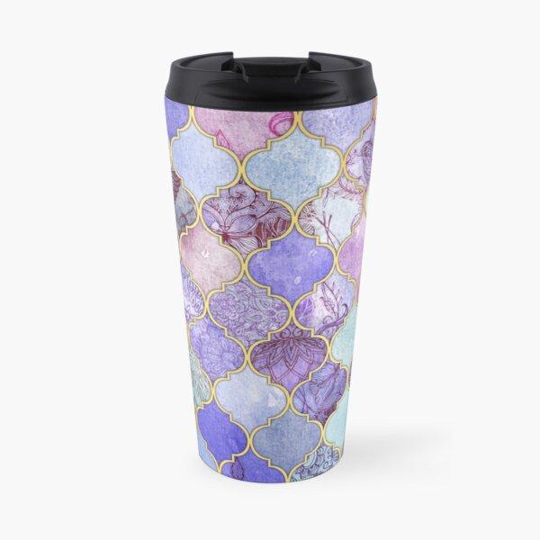 Royal Purple, Mauve & Indigo Decorative Moroccan Tile Pattern Travel Mug