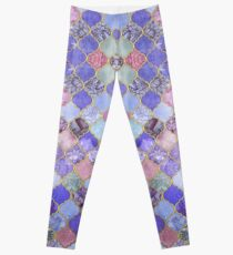 Königliches purpurrotes, malvenfarbenes u. Indigo-dekoratives marokkanisches Fliesen-Muster Leggings