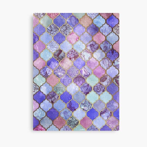 Royal Purple, Mauve & Indigo Decorative Moroccan Tile Pattern Canvas Print