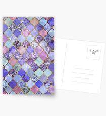 Royal Purple, Mauve & Indigo Decorative Moroccan Tile Pattern Postcards