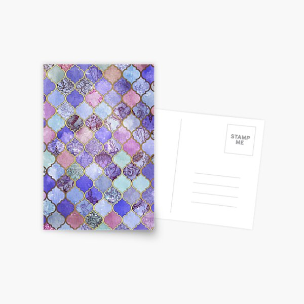 Royal Purple, Mauve & Indigo Decorative Moroccan Tile Pattern Postcard