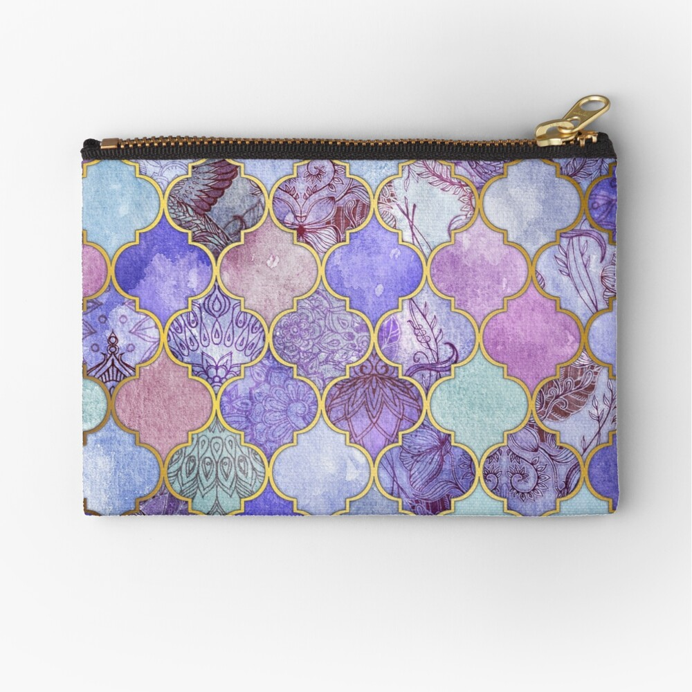 Royal Purple, Mauve & Indigo Decorative Moroccan Tile Pattern Zipper Pouch