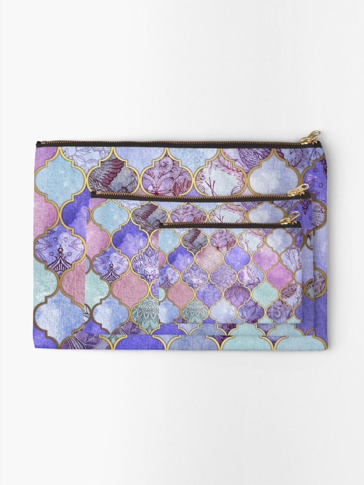 Alternate view of Royal Purple, Mauve & Indigo Decorative Moroccan Tile Pattern Zipper Pouch