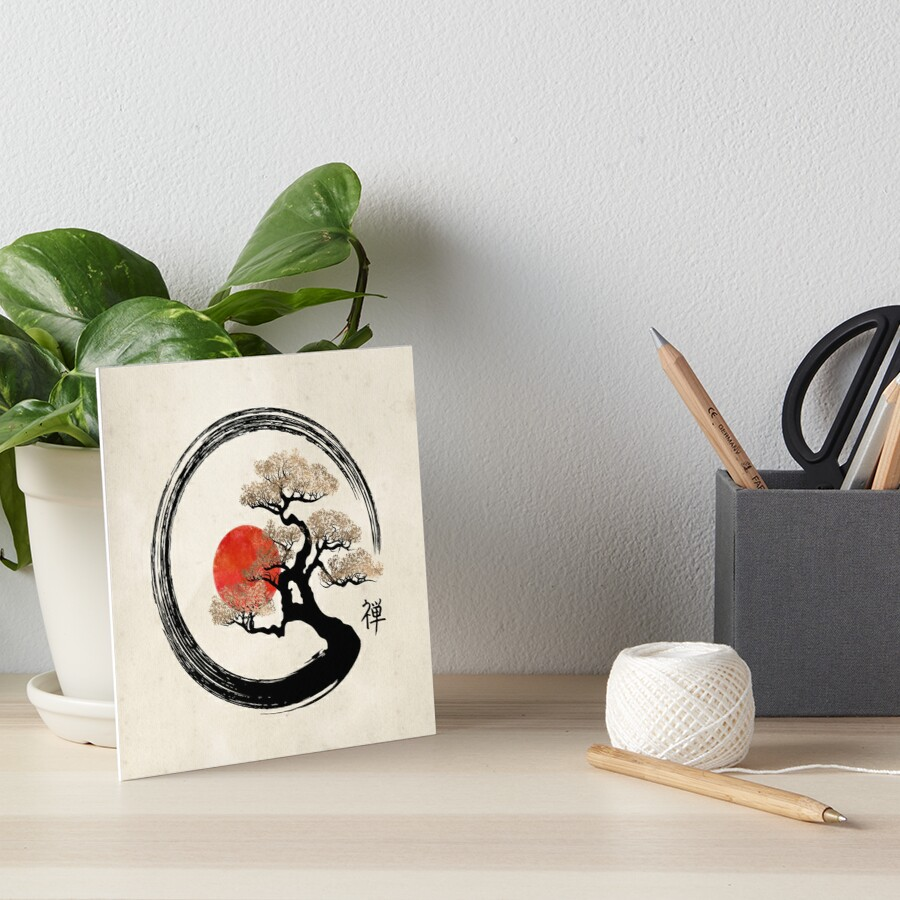 Enso Circle and Bonsai Tree on Canvas Art Board Print