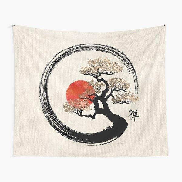 Enso Circle and Bonsai Tree on Canvas Tapestry
