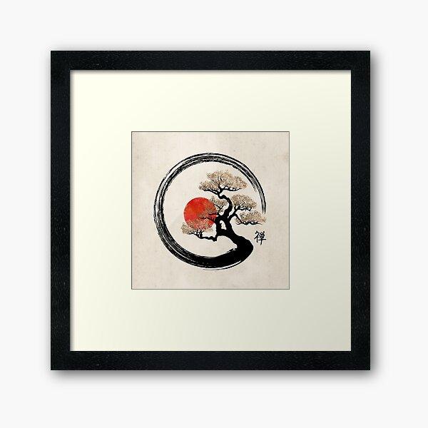 Enso Circle and Bonsai Tree on Canvas Framed Art Print