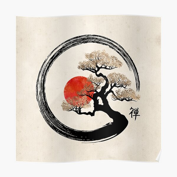 Enso Circle and Bonsai Tree on Canvas Poster