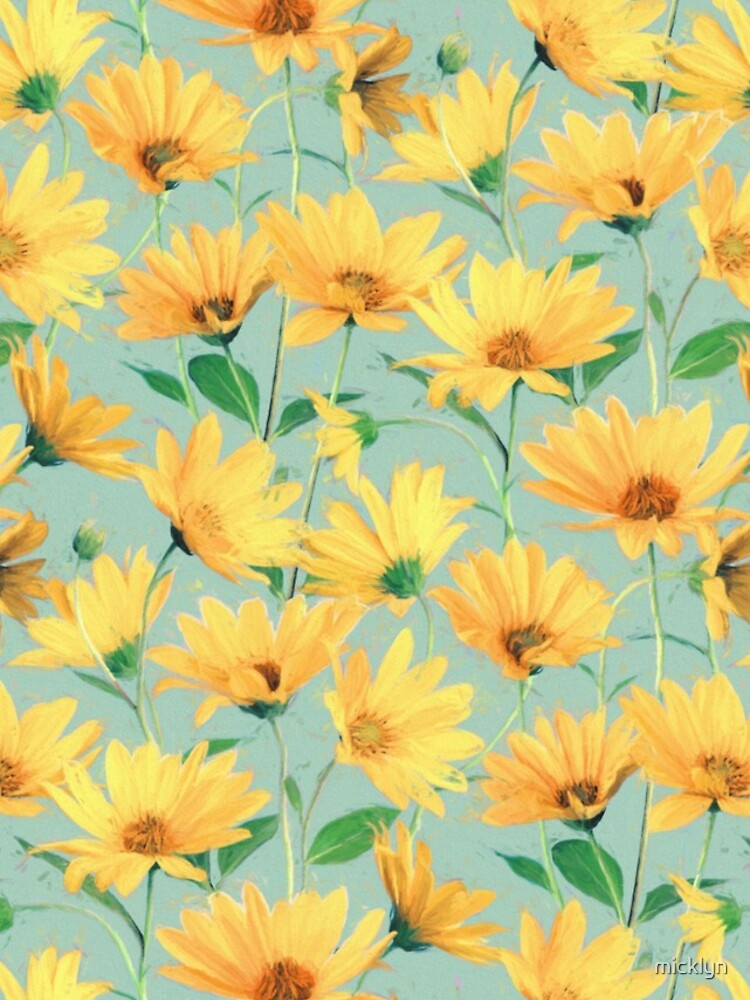 Painted Golden Yellow Daisies on soft sage green by micklyn