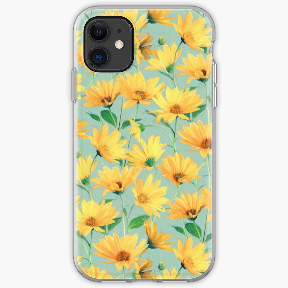 Painted Golden Yellow Daisies on soft sage green iPhone Case & Cover