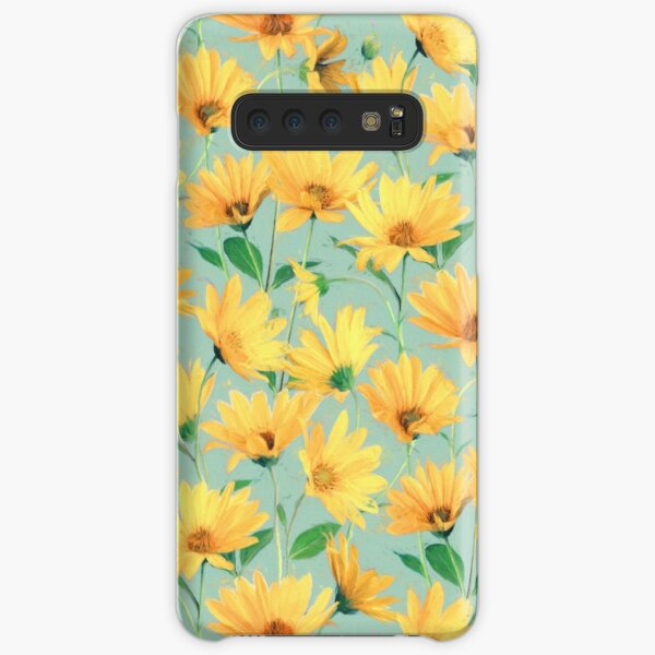 Painted Golden Yellow Daisies on soft sage green Samsung Galaxy Snap Case