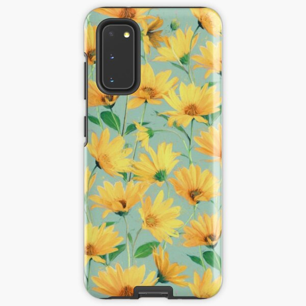 Painted Golden Yellow Daisies on soft sage green Samsung Galaxy Tough Case