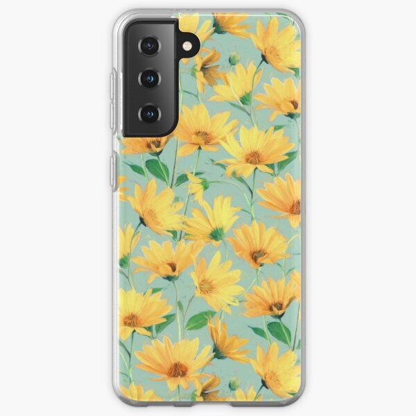 Painted Golden Yellow Daisies on soft sage green Samsung Galaxy Soft Case