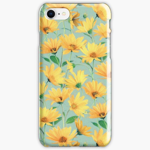 Painted Golden Yellow Daisies on soft sage green iPhone Snap Case