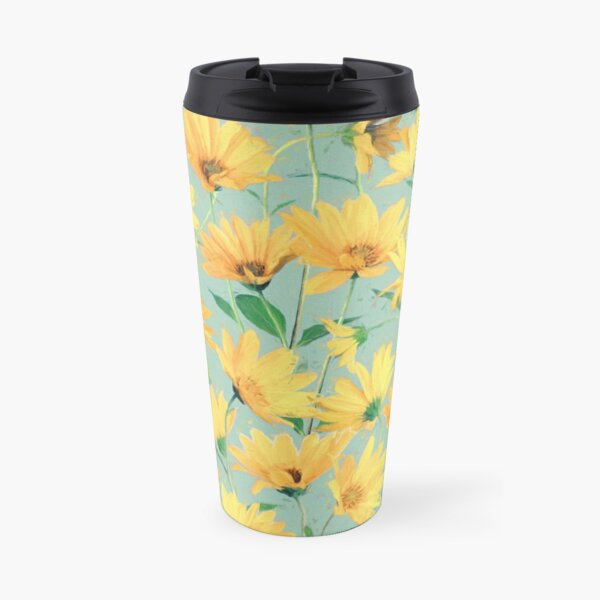 Painted Golden Yellow Daisies on soft sage green Travel Mug