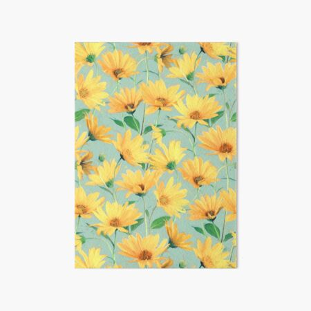 Painted Golden Yellow Daisies on soft sage green Art Board Print