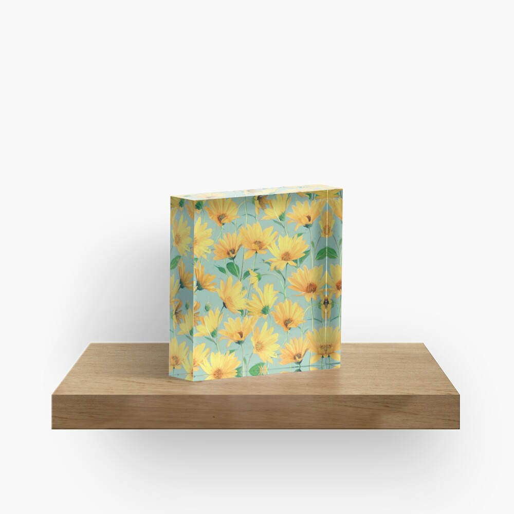 Painted Golden Yellow Daisies on soft sage green Acrylic Block