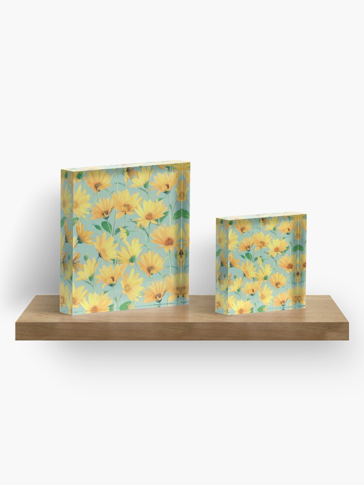 Alternate view of Painted Golden Yellow Daisies on soft sage green Acrylic Block