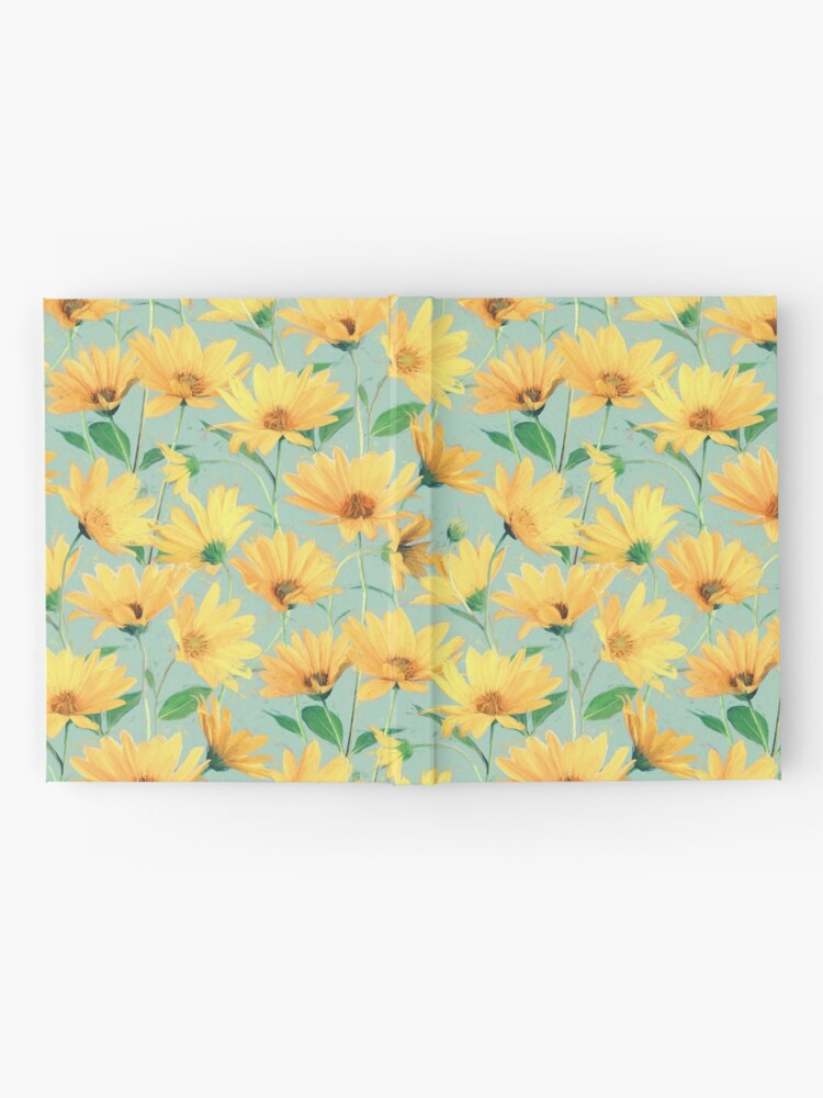 Alternate view of Painted Golden Yellow Daisies on soft sage green Hardcover Journal