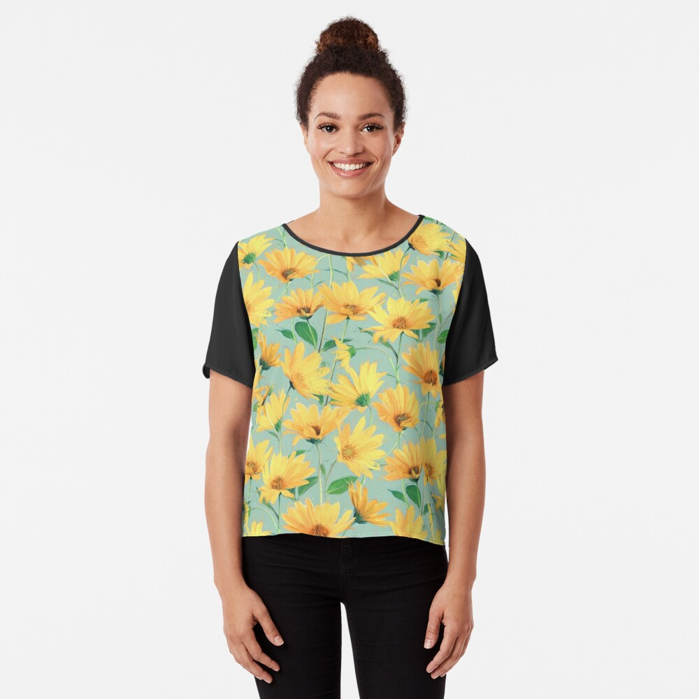 Painted Golden Yellow Daisies on soft sage green Chiffon Top