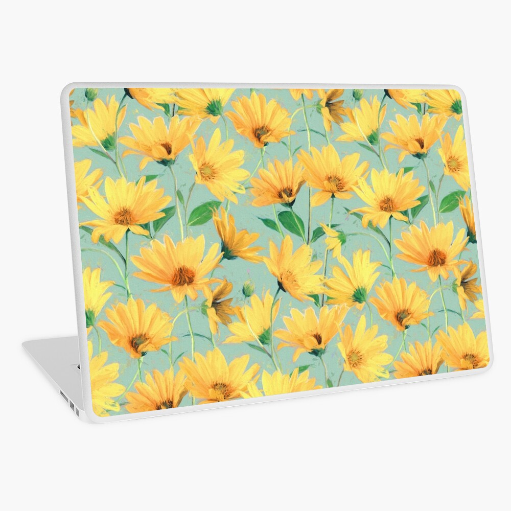 Painted Golden Yellow Daisies on soft sage green Laptop Skin
