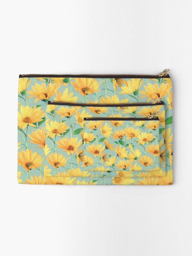 Alternate view of Painted Golden Yellow Daisies on soft sage green Zipper Pouch