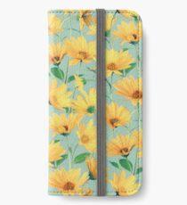 Gemalte goldene gelbe Gänseblümchen auf weichem Salbeigrün iPhone Flip-Case/Hülle/Klebefolie