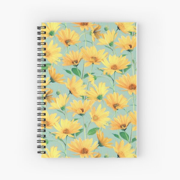Painted Golden Yellow Daisies on soft sage green Spiral Notebook