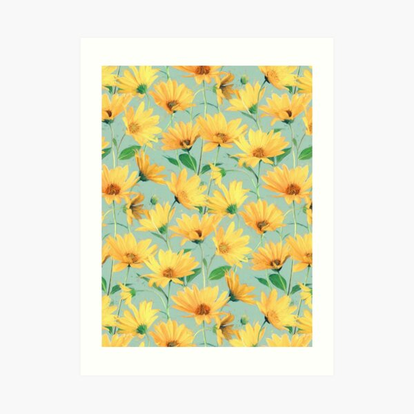 Painted Golden Yellow Daisies on soft sage green Art Print