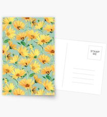 Painted Golden Yellow Daisies on soft sage green Postcards