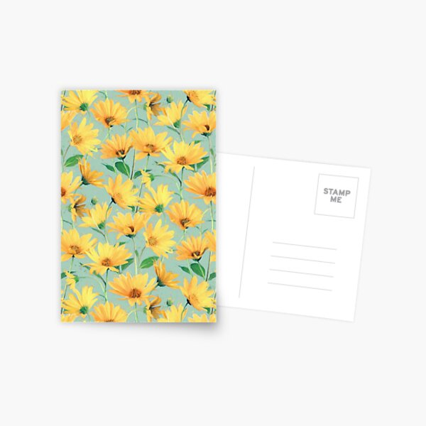 Painted Golden Yellow Daisies on soft sage green Postcard