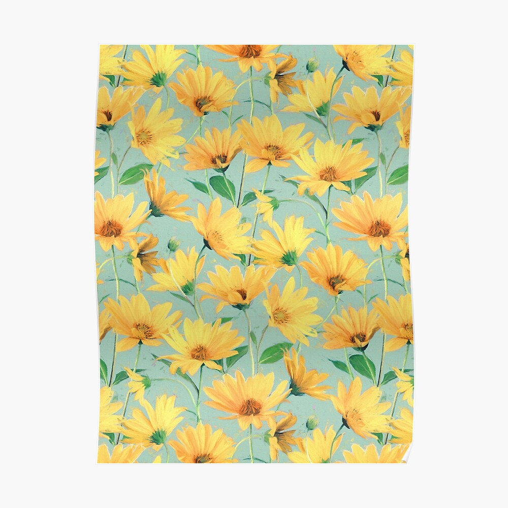 Painted Golden Yellow Daisies on soft sage green Poster