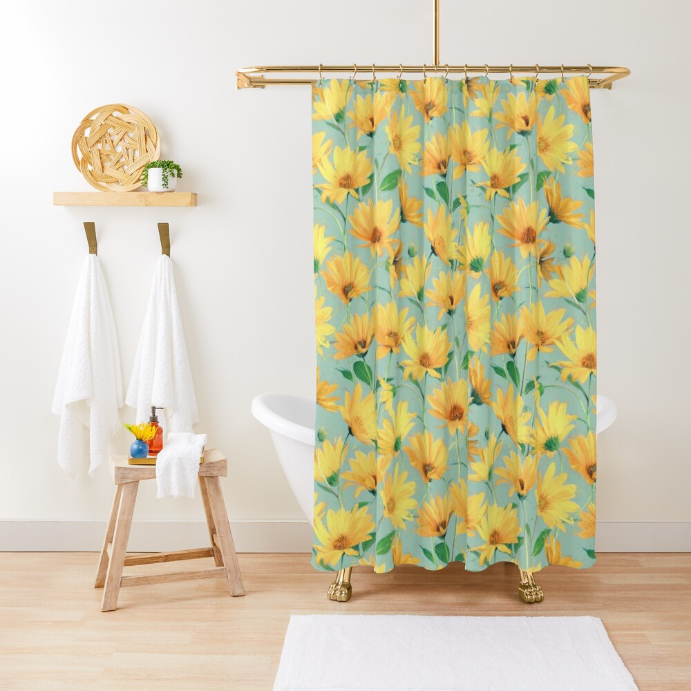 Painted Golden Yellow Daisies on soft sage green Shower Curtain
