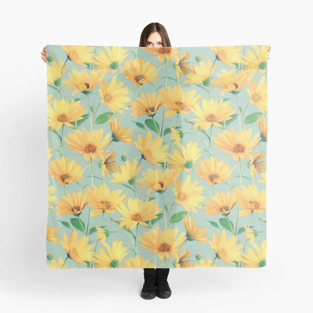 Painted Golden Yellow Daisies on soft sage green Scarf