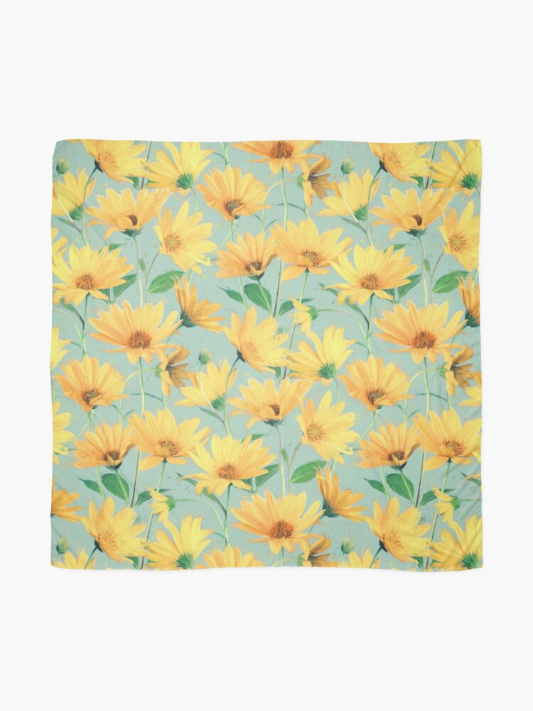 Alternate view of Painted Golden Yellow Daisies on soft sage green Scarf